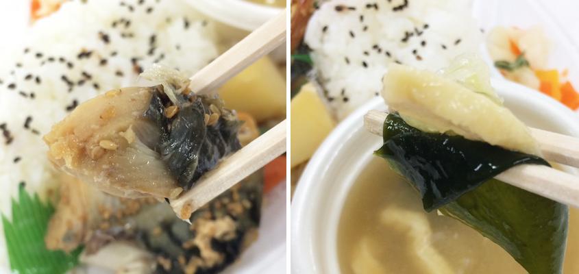 左:脂の乗ったノルウェー産の鯖 右:具だくさんの味噌汁