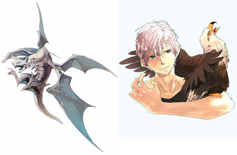 佐藤さんが描いたドラゴン(左)と男の子のイラスト