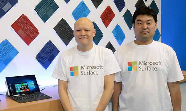 町田匡史・マイクロソフト クラウド&ソリューションビジネス統括本部 デバイス&モビリティ営業本部 ソリューションスペシャリスト(左)と青木一人・マイクロソフト Windows&デバイス本部シニアプロダクトマネージャー